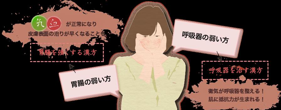 胃腸の弱い方には胃腸を強くする漢方を。呼吸器の弱い方には呼吸器を治す漢方を。